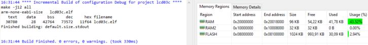 Przykładowa informacja o zużyciu pamięci RAM