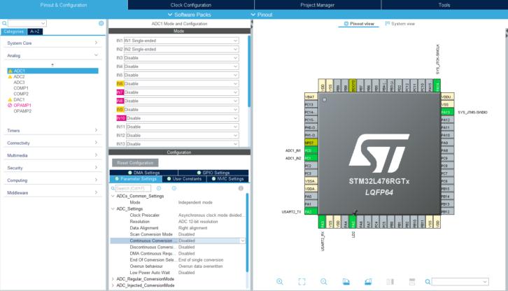 Aktywacja dwóch kanałów przetwornika ADC w STM32L4