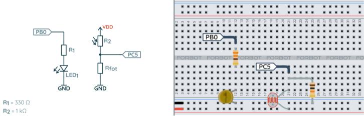 Schemat ideowy i montażowy układu testującego komparator w STM32L4
