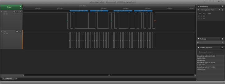 Zbliżenie na linie sygnałowe podczas wywołania funkcji odczytującej dane z pamięci