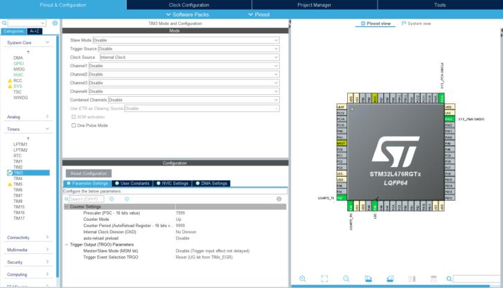 Konfiguracja licznika TIM3 w STM32L4