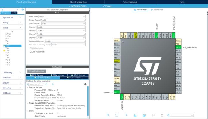 Konfiguracja nowego projektu z licznikiem TIM3
