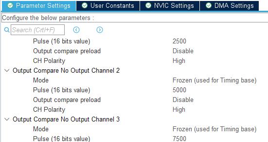 Ustawienie parametrów Pulse dla kanałów licznika TIM3
