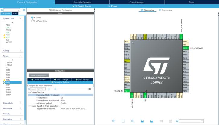 Konfiguracja licznika TIM6 w STM32L4 za pomocą CubeMX