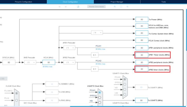 Informacja o taktowaniu timerów z 80 MHz w CubeMX
