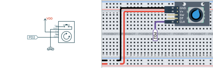 Schemat ideowy i montażowy do testowania licznika impulsów