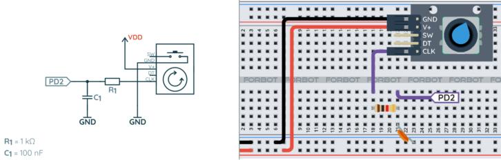 Schemat ideowy i montażowy enkodera z filtrem RC