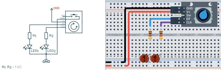 Schemat ideowy i montażowy prostego układu testującego enkoder