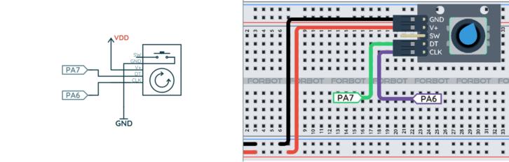 Schemat ideowy i montażowy dla przykładu z enkoderem