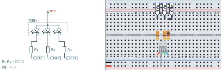 Schemat ideowy i montażowy układu testowego z diodą RGB
