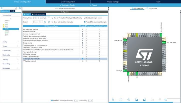 Ustawienia przerwań na STM32L4 w CubeMX