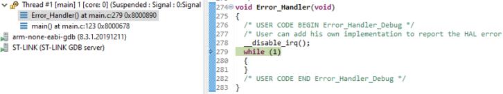 Program został zatrzymany w funkcji obsługującej błędy