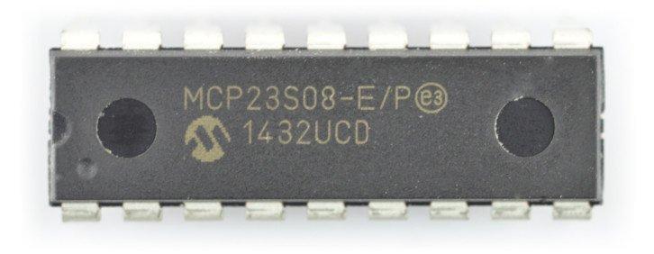 MCP23S08 to ekspander GPIO, z którym można komunikować się przez SPI