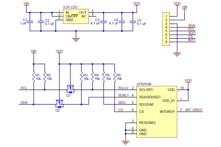 Schemat modułu POLOLU-2867 z czujnikiem ciśnienia LPS25HB