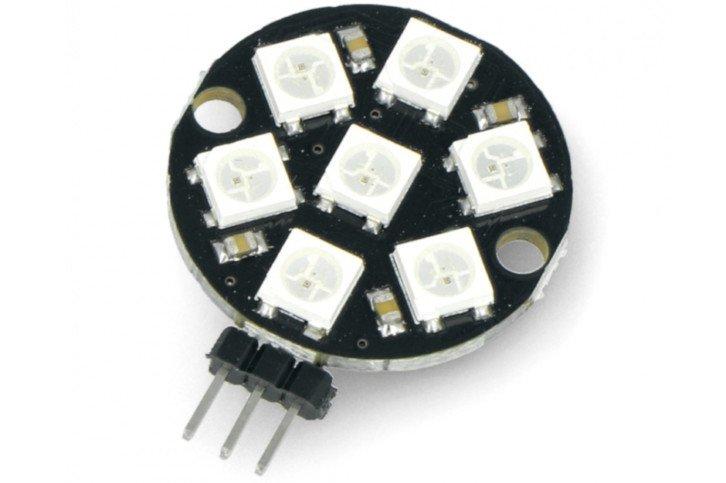 Pierścień z 7 diodami WS2812B