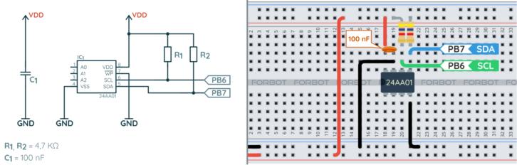 Schemat ideowy i montażowy do przykładu z pamięcią EEPROM