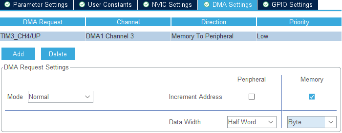 Nowa konfiguracja dla DMA w CubeMX