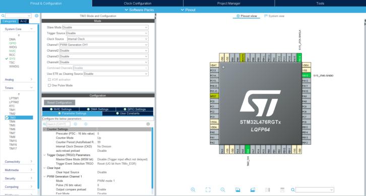 Konfiguracja licznika TIM3 do obsługi diod WS2812B