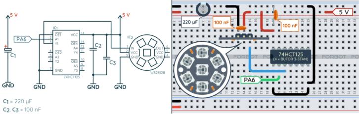 Schemat ideowy i montażowy dla przykładów z tej części kursu STM32L4