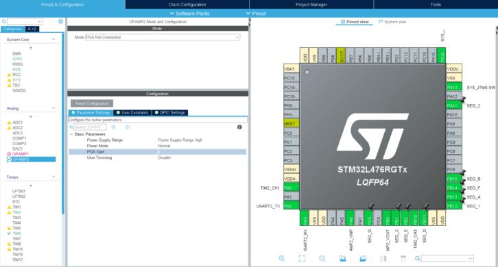 Konfiguracja wzmacniacza OPAMP2 w STM32L4