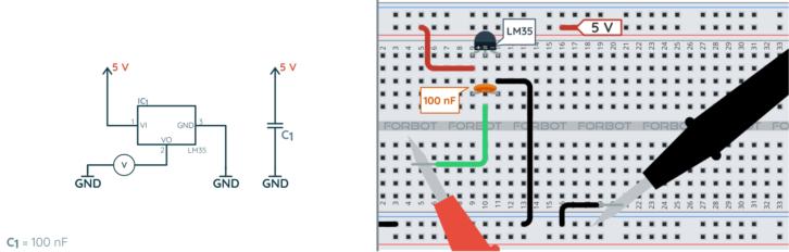 Schemat ideowy i montażowy dla pomiaru temperatury za pomocą LM35