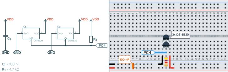 Schemat ideowy i blokowy połączenia dwóch czujników DS18B20