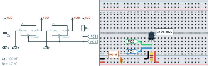 Schemat ideowy i montażowy do testu komunikacji 1-wire przez UART