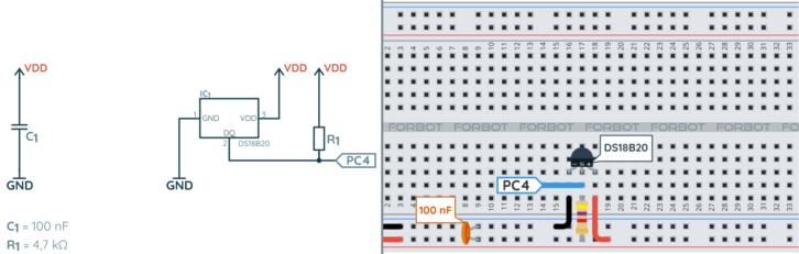 Schemat ideowy i montażowy podłączenia DS18B20 do STM32L4